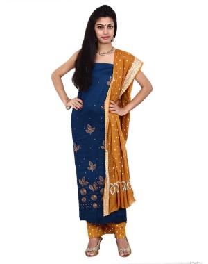 Blue Cotton Satin Bandhani Dress Material KS77