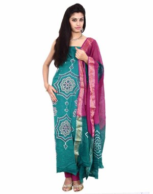 Blue Cotton Satin Bandhani Dress Material KS78
