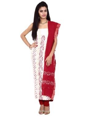 White Cotton Satin Bandhani Dress Material KS79