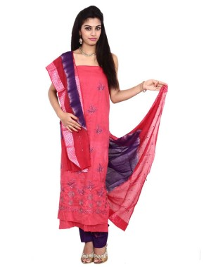 Peach Cotton Satin Bandhani Dress Material KS82