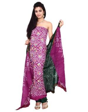 Purple Cotton Satin Bandhani Dress Material KS85