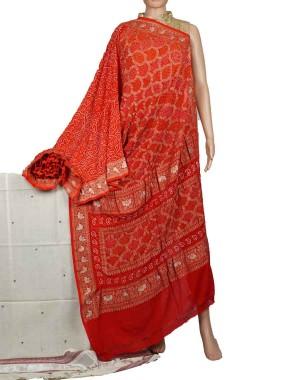 Megha Arts & Crafts Hand Wooven Zari Bandhani Saree MAC581