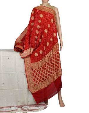 Megha Arts & Crafts Hand Wooven Zari Bandhani Saree MAC584