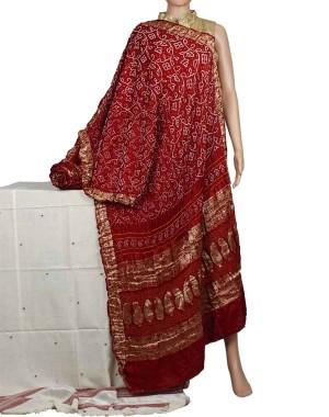 Megha Arts & Crafts Hand Wooven Zari Bandhani Saree MAC587
