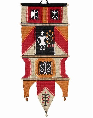 Handloom Cotton Wall Hanging with Human 360 F red