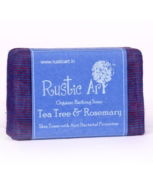 Rustic Art Organic Tea Tree And Rosemary Soap RA21 (Pack of 2)