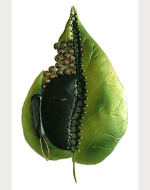 Iron Handicrafts Leaf With Buddha Wall Hanging IH156