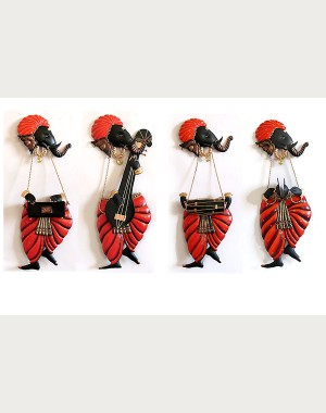 Iron Handicrafts Musician Ganesha Wall Hanging IH157 (Set Of 4)
