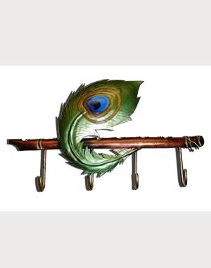 Iron Handicrafts Peacock Feather Key Hanger IH164