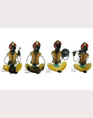 Iron Handicrafts Rajasthani Men's Troupe Wall Hanging IH167 (Set Of 4)