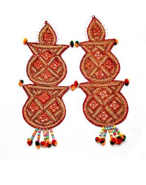 Kutch Qasab Five Mirror Kumbh Wall Hanging KQ43 (2 Piece)