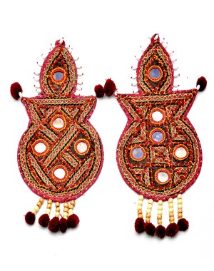 Kutch Qasab Big Mirror Kumbh Wall Hanging KQ44 (2 Piece)