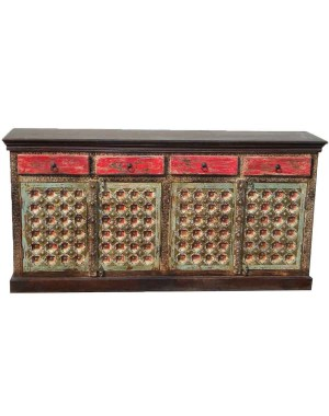 Wood Carved Four Drawer Side Board HAE57