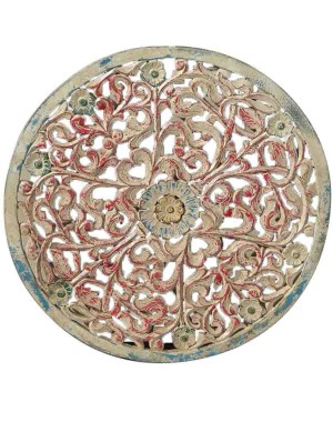 Wood Carved Round Pannel Wallhanging HAE61