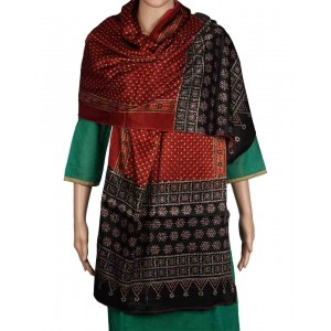 Megha Art & Crafts Woolen Stole With Kutch Embroidery MAC101