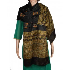 Megha Art & Crafts Mashru Silk Stole With Kutch Embroidery MAC89