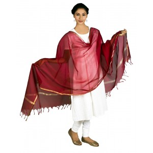 Cotton Dupatta Plain Zari Piping  BB08