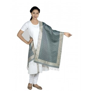Silk Zari Weaved Boarder Scarf  BB10