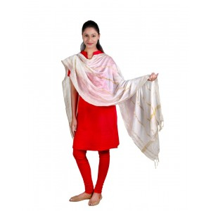 White wave strips Dupatta BB15