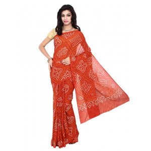 Kala Sanskruti Bandhani Cotton Saree In Orange Color