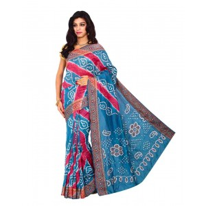 Kala Sanskruti Gadhwal Silk Blue & Red Bandhej Saree