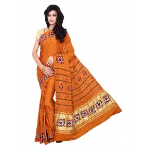 Kala Sanskruti Gaji Silk Saree With Work In Orange Color