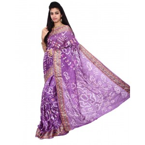 Art Silk Purple Bandhani Saree KS449