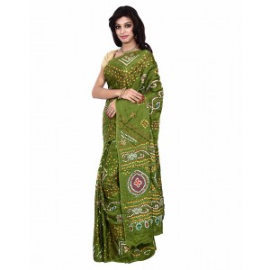 Gaji Silk Green Bandhani Saree