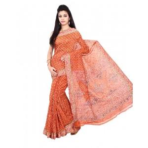 Gadhwal Silk Rust Bandhani Saree KS450