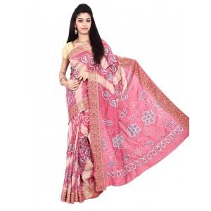 Gadhwal Silk Pink Bandhani Saree KS451