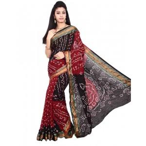 Art Silk Black And Maroon Bandhani Saree KS452
