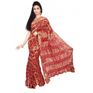 Art Silk Red Bandhani Saree KS453