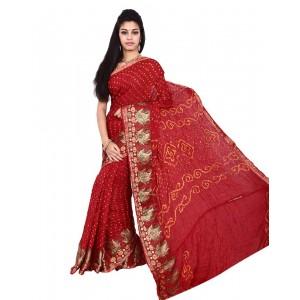 Art Silk Maroon Bandhani Saree KS454