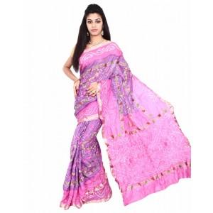 Pure Silk Pink And Purple Bandhani Saree KS455