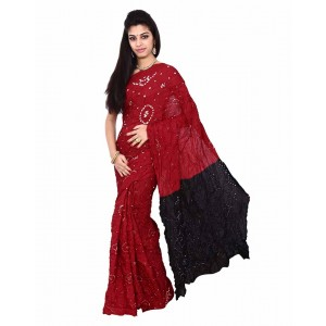 Art Silk  In Red And Black Bandhani Saree KS456