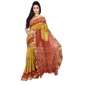 Pure Silk Rust Orange Bandhani Saree KS458