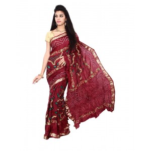 Pure Silk Maroon Bandhani Saree KS460