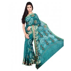Art Silk Sea Green Bandhani Saree KS461