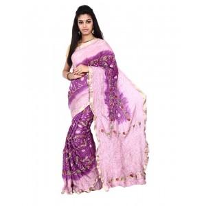 Pure Silk Pink Bandhani Saree KS464