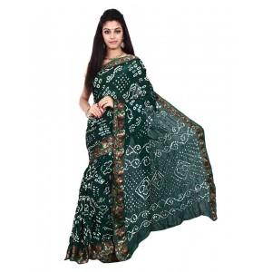 Art Silk Dark Green Bandhani Saree KS465
