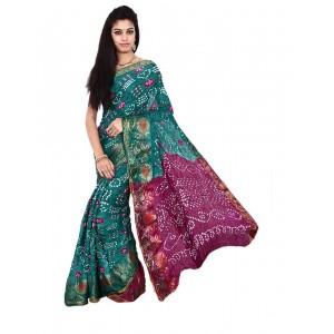 Art Silk Green Bandhani Saree KS476