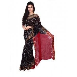 Art Silk Black And Maroon Bandhani Saree KS477