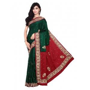 Kala Sanskruti Red And Green Gajji Silk Bandhani Saree