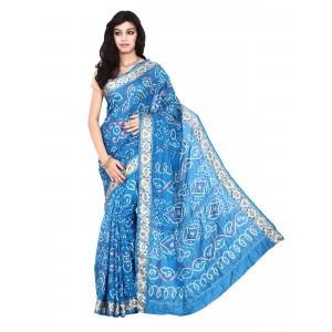 Kala Sanskruti Sky Blue Pure Silk Bandhani Saree
