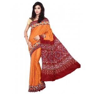 Kala Sanskruti Orange And Red Gajji Silk Bandhani Saree