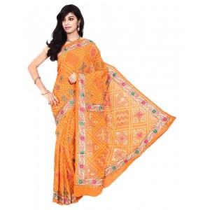 Kala Sanskruti Georgette Bandhani Saree In Orange Color