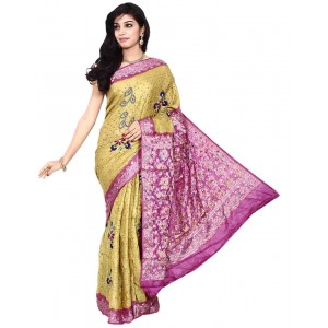 Kala Sanskruti Beige And Magenta South Silk Bandhani Saree