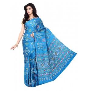 Kala Sanskruti Gajji Silk Sky Blue Color Bandhani Saree