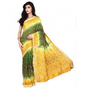 Kala Sanskruti Pure Silk Green And Yellow Color Bandhani Saree