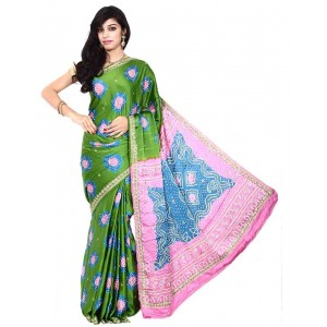 Kala Sanskruti Gajji Silk Green And Pink Color Bandhani Saree